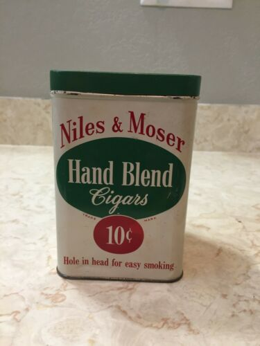Vintage NILES & MOSER HAND BLEND CIGARS TIN, 10 Cent Cigars, Made in Indiana