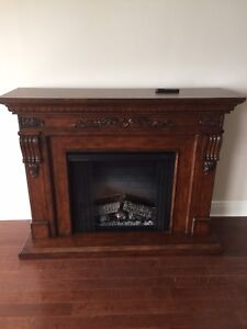 Fireplace and wood mantel