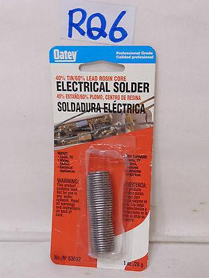 New Oatey Electrical Solder 40 Tin 60 Lead Rosin Core 53012 1 Oz.