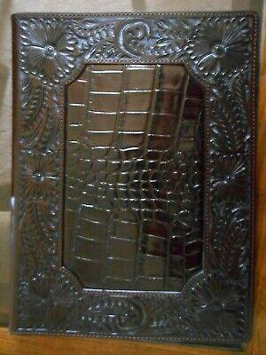 Western Leather Paper-pad Folder Floral Caiman-croc Print Home Office Dark Brown