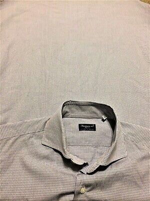 FINAMORE 1925 NAPOLI - 15.5 - Blue & White 100% Cotton Dress Shirt