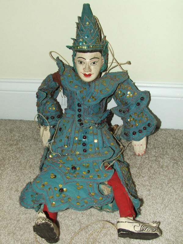 Antique Ornate Asian Hand Crafted Burmese Diety Marionette Yoke Thé Puppet Doll