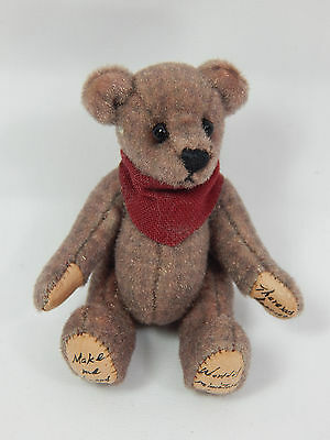 "World Of Miniature Bears Dollhouse Miniature 2.5"" Plush Bear #356"