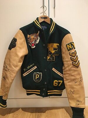 Sold Out Online Polo Ralph Lauren RL Tigers Leather Varsity Letterman Jacket (Polo Ralph Lauren On Line)