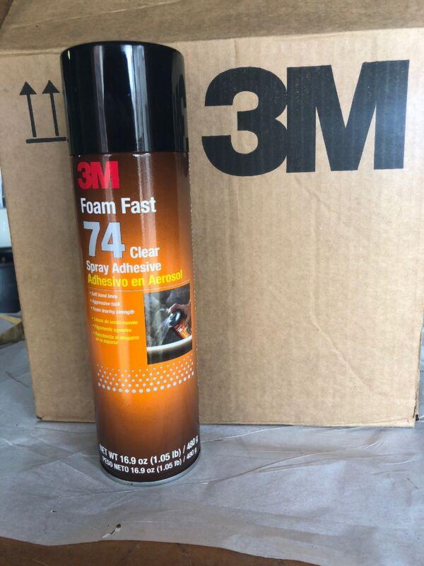 (12) 3M Foam Fast 74 Clear Spray Adhesive Cans 16.9 oz