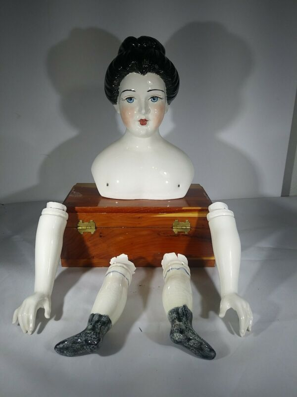 Vintage Large China Doll Head Arms And Legs No Body Marked Holland