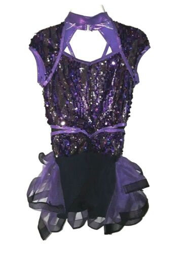 Girls WEISSMAN Sz L CL Dance Costume Purple Black Sequin Ruffle Shimmer Jazz Tap