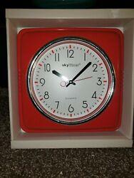 *BRAND NEW IN BOX* Skytimer Quartz 11 Red Square With Chrome Retro Wall Clock*