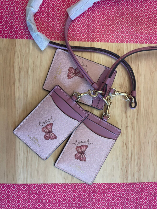 NWT Coach 2984 ID Lanyard with Butterfly Print in Blossom/Pink Multi