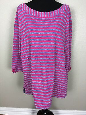 - Talbots Woman 3X 100% Cotton Tunic Top Shirt 3/4 Sleeve Boatneck Rope Trim Multi