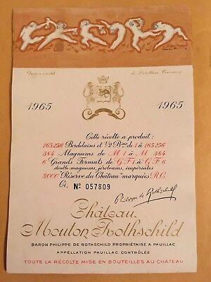 Wine Label / Etiquette Vin /France Mouton Rothschild ,1965 original No. 057809