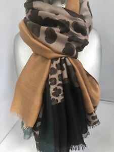 Gorgeous large Leopard print Scarf Grey tone with Black Mustard Green Block wrap