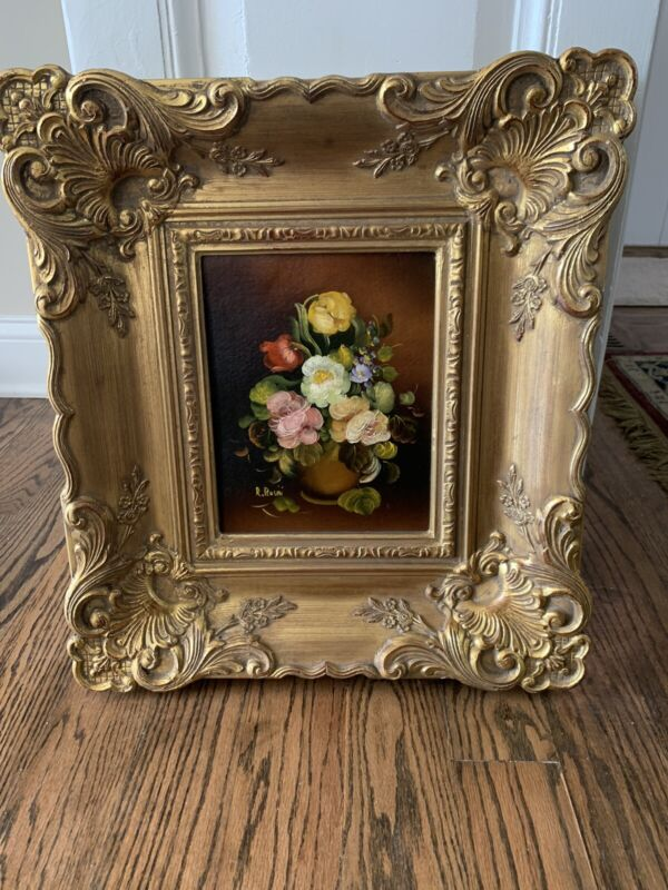 Vintage Large Victorian Style Gold Ornate Wooden Picture Frame Floral Painting
