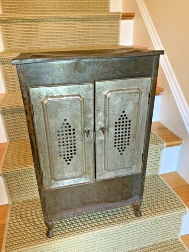VINTAGE INDUSTRIAL METAL Primitive Farm Fruit Vegetable Storage Bin SIDE TABLE