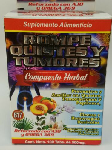 Rompe Quistes & Tumores B17 100%Natural (Reforzado con Ajo & Omega 369) 100tab. 1