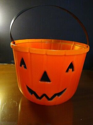 VTG Large Empire Pumpkin Halloween Blow Mold Trick or Treat Candy Bucket/Pail