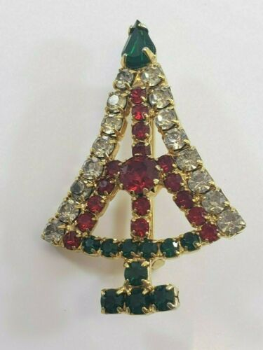 Christmas  Brooch Pin ICY Christmas Tree Rhinestones Red Clear Green Gold Tone