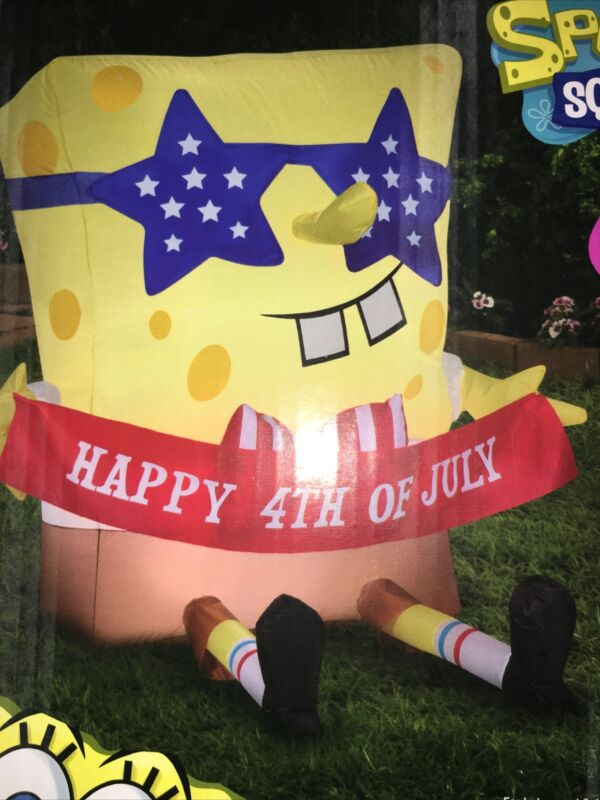 2021 Gemmy Sponge Bob 4th Of July Airblown Inflatable Fast Ship