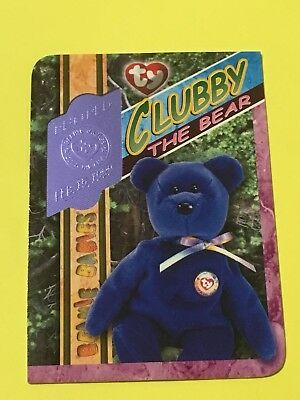 Ty Beanie Babies Trading Card Clubby The Bear Blue Retired 313, Series 4