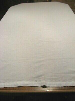 "White Vtg Heavy Linen w/ Hemstitched Double Drawnwork Border Tablecloth 74""x 55"""