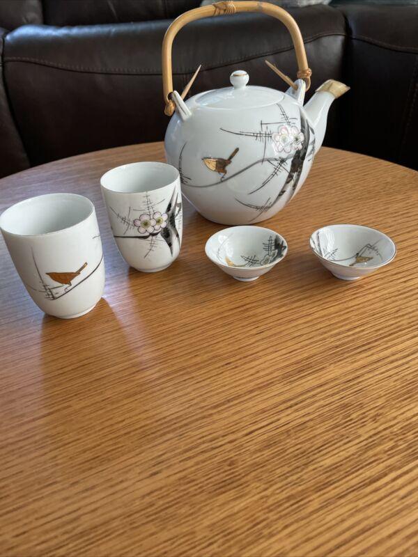 Vintage Japanese Tea/saki Set W/ 2 Cups & matching 2 Sushi dishes Japan
