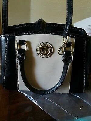 Anne Klein Black/Creme  Womens Faux Leather Handbag/ Purse