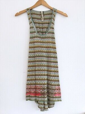 Journey Pull - ARATTA SILENT JOURNEY Anthropologie Embroidered Rayon Knit Twist Back Tank Small