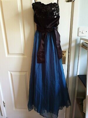 Used, XS Teal Blue and Black Layered Prom Gown for sale  Shipping to Nigeria
