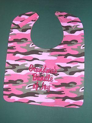 Pink Camo Bib (PERSONALIZED Name Pink Green Camo Camouflage BIBS BABY BIB LG Up to 4 words USA)
