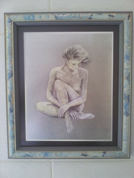 """WOMAN ETCHED ON SILVER FOIL IN FRAME"""