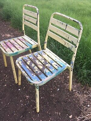 Set Of Two Yellow Metal Art Design Outdoor Chairs