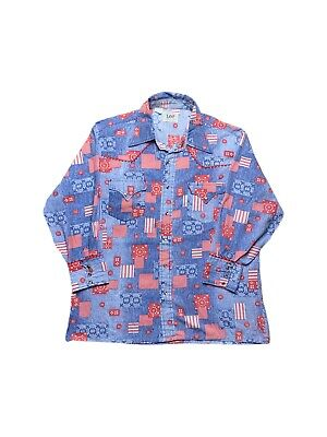 1970s Mens Shirt Styles – Vintage 70s Shirts for Guys Vintage 1970s Lee Authentic Western Shirts Patchwork Style Button Down Shirt $35.00 AT vintagedancer.com