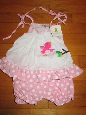 NWT Victoria Kids Flying Bird Applique Dress & Diaper Cover size 0-3 months