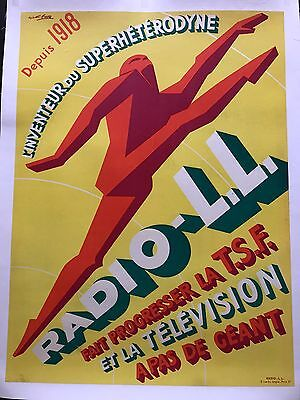 Original Vintage Poster Radio L L by Favre ca.1940
