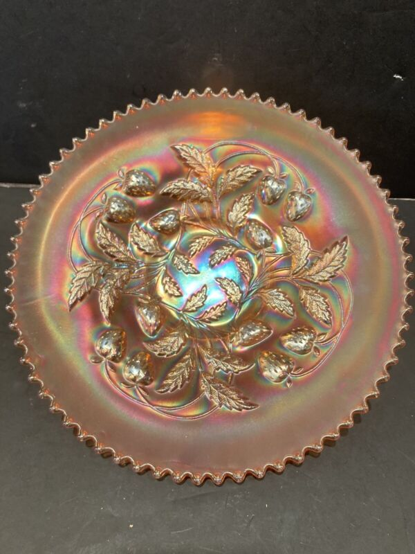 NORTHWOOD RUFFLED STRAWBERRY MARIGOLD CARNIVAL GLASS FOOTED PLATE / BOWL 9""