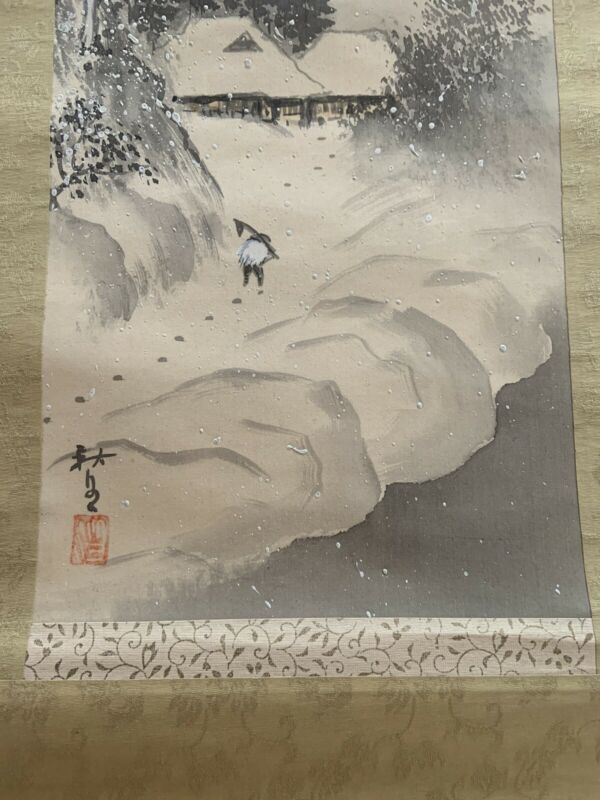 Japanese Silk Scroll Painting WINTER LANDSCAPE Asian Art Signed