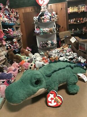 """Ty SPIKE -Green Scaly Fabric 6"""" Beanie Boo Alligator! *Exclusive* NEW!!"""