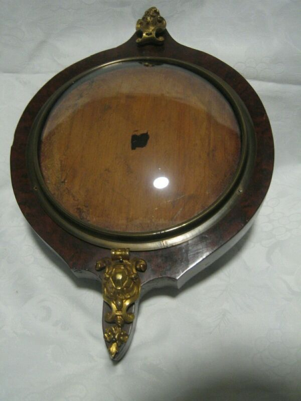 ANTIQUE VICTORIAN  ROUND DOMED GLASS BAROMETER THERMOMETER WOOD PICTURE FRAME