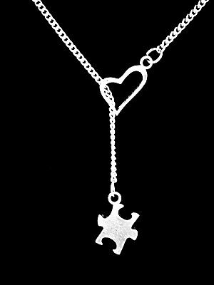 Puzzle Piece Necklace Heart Lariat Autism Awareness Friend Mom Christmas - Puzzle Piece Heart