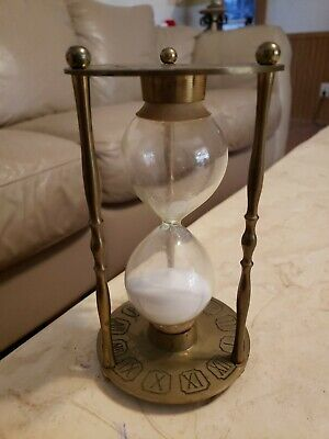 """Vintage Brass Hourglass Engraved Roman Numerals Zodiac Sand Timer 9"""" Tall"""