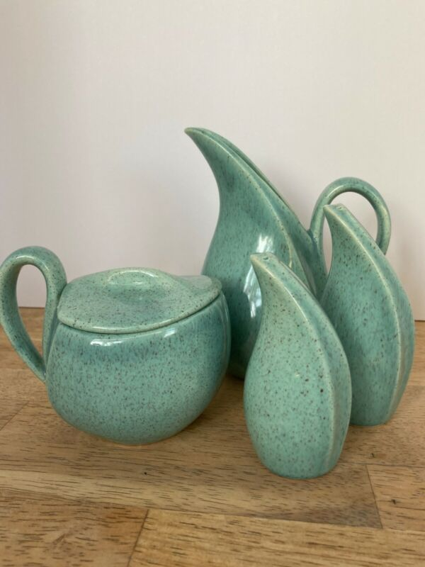 VTG Cream-Stone by Laurel of California Turquoise speckled pottery set