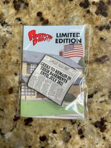 SDCC 2020 Toddland American Dad Langley Falls Post Geeks Remain in Basements Pin