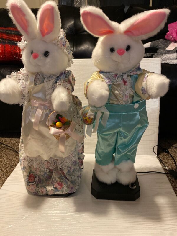 """Vintage Telco Easter Bunny Rabbit Pair Large 26"""" Animated Musical Motionette"""