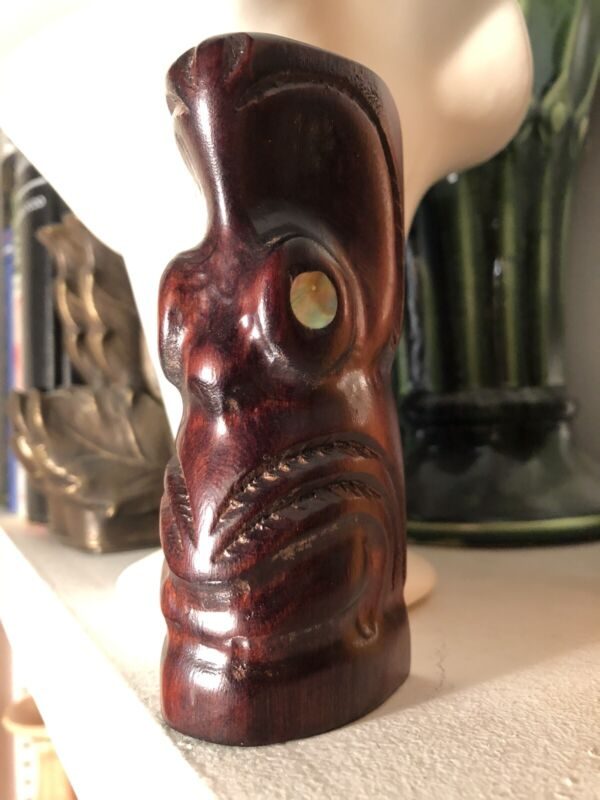 TIKI Totem New Zealand Maori 4.5 in. Paua Shell Eyes