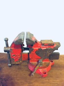 WORKING VINTAGE TABLE VICE ANTIQUE INDUSTRIAL TOOLS