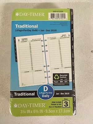 Day-timer 873250 Traditional 1 Page-per-day Refill Jan - Dec 2016 Free Ship