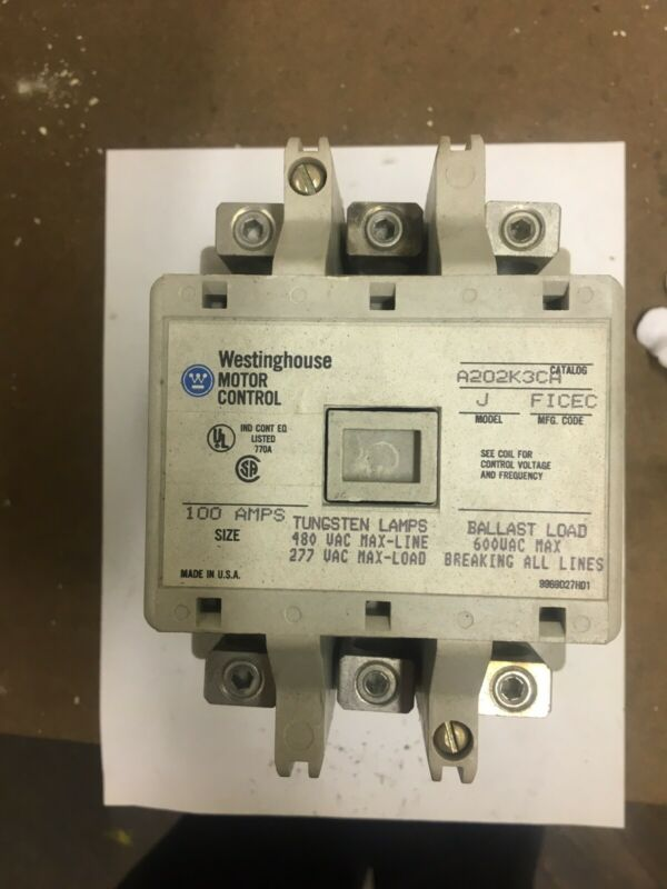Westinghouse A202K3CA 100A AC Lighting Contactor 480/277 V Coil 3PH WH 100 Amp