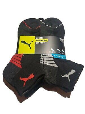 Puma Men's Sport  DRYCELL 6-Pair Quarter Crew Training Socks BLACK/RED