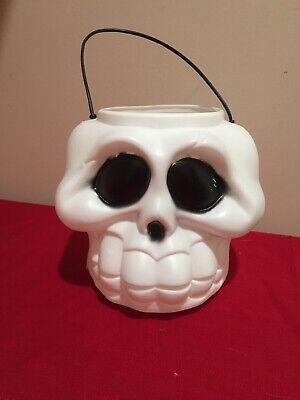 Vintage General Foam Plastic Halloween Blow Mold White Skull Candy Bucket Ghoul