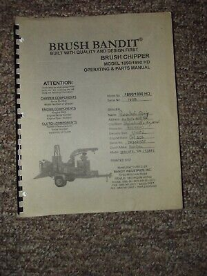 Brush Bandit Operating Parts Manual Model 1890 1890hd